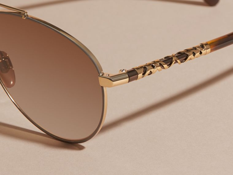 Check Detail Pilot Sunglasses in Pale Gold - Women | Burberry - cell image 1
