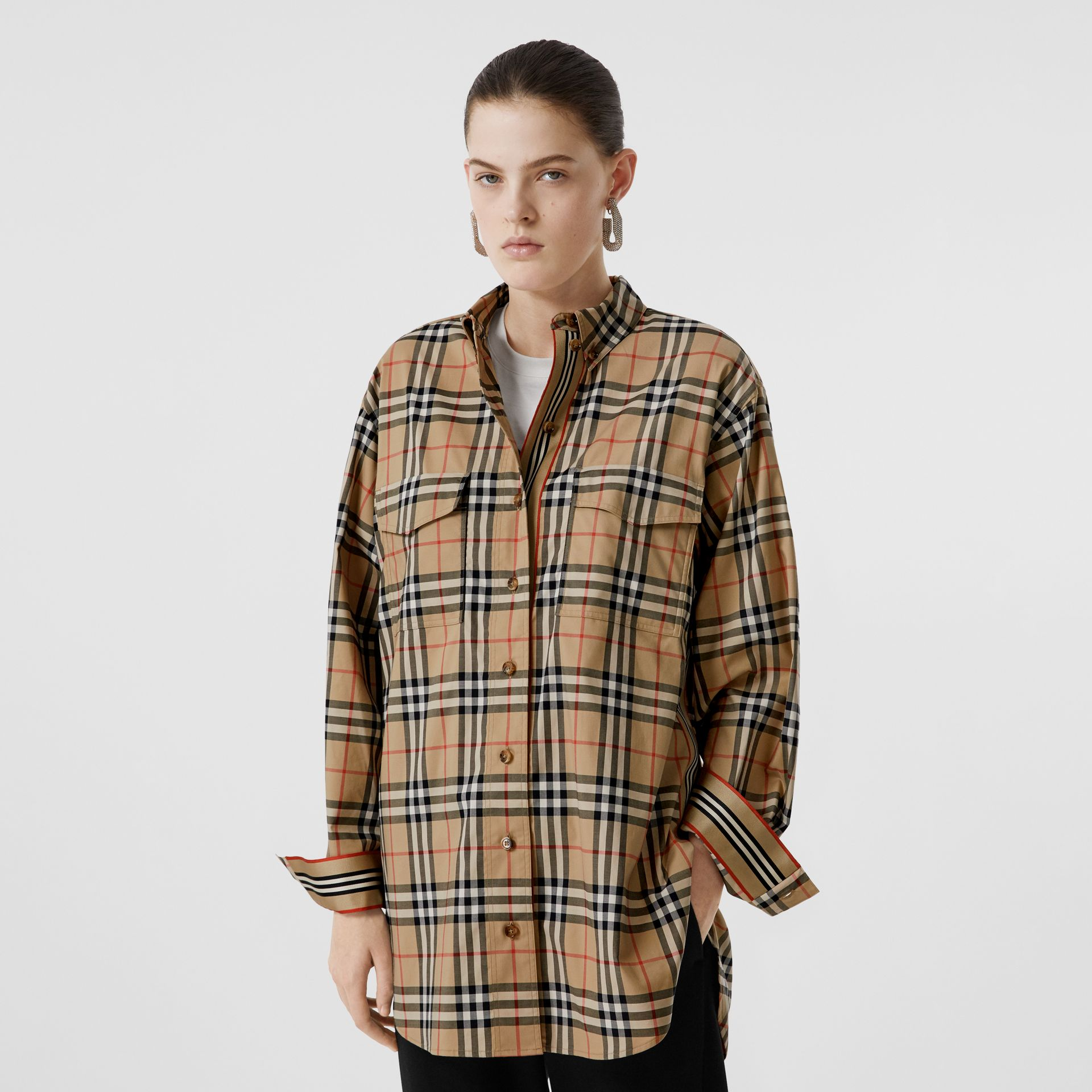 Vintage Check Stretch Cotton Oversized Shirt in Archive Beige - Women | Burberry United Kingdom - gallery image 5