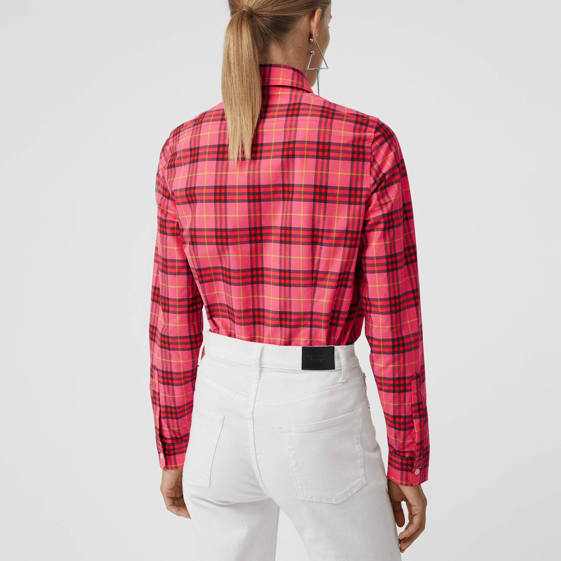 Check Cotton Shirt in Coral Red - Women | Burberry - gallery image 2