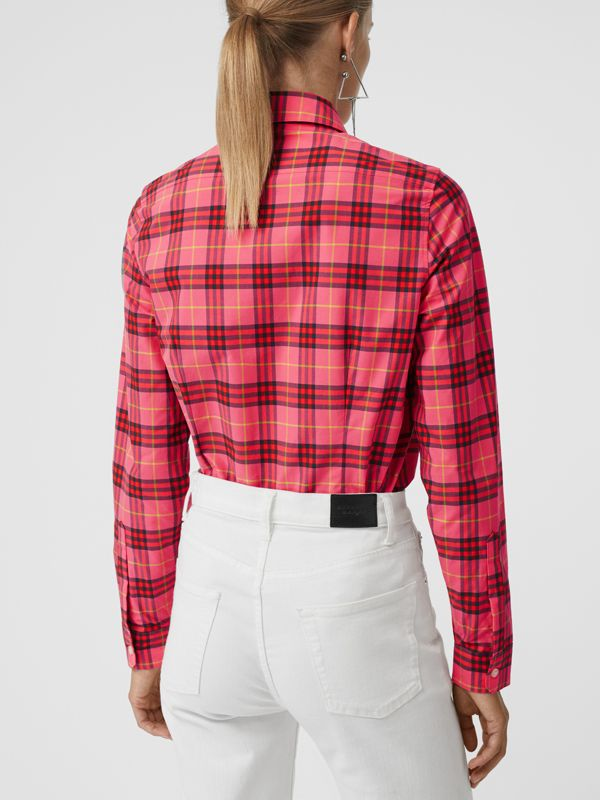 Check Cotton Shirt in Coral Red - Women | Burberry - cell image 2