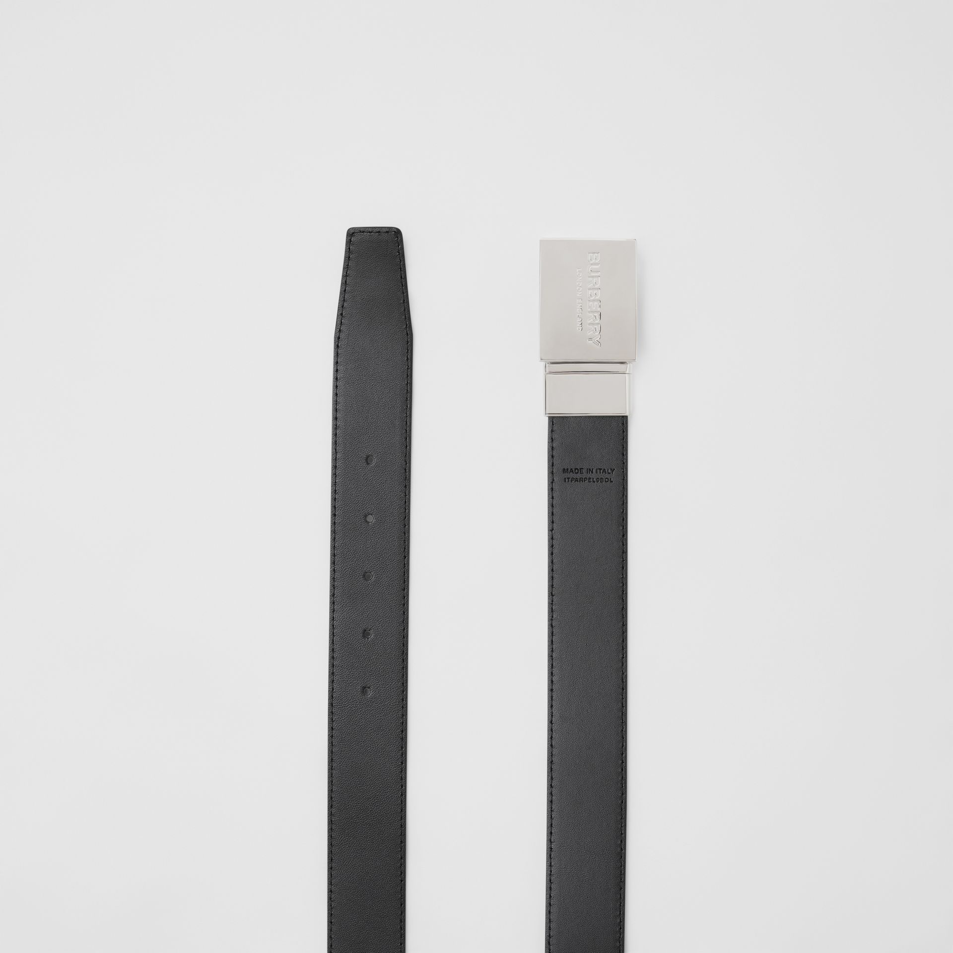 Reversible Plaque Buckle London Check Belt in Dark Charcoal/black - Men | Burberry - gallery image 8