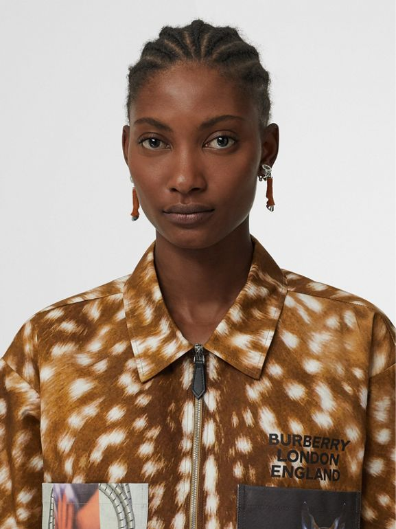 Short-sleeve Deer Print Cotton Oversized Shirt in Honey - Women | Burberry - cell image 1