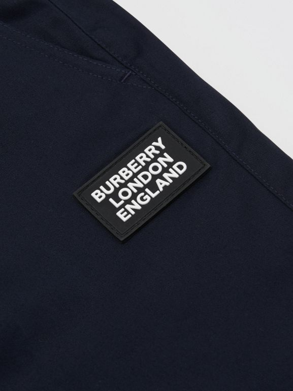 Logo Appliqué Cotton Twill Trackpants in Ink | Burberry United States - cell image 1