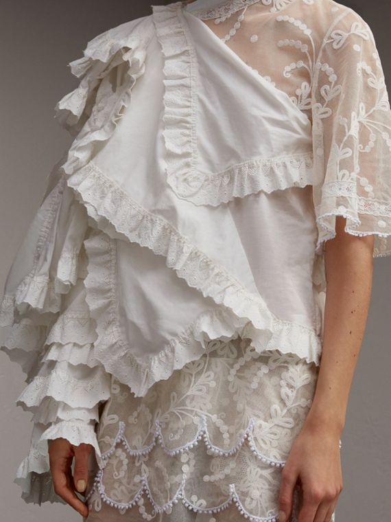 Broderie Anglaise Ruffle Cotton and Lace Dress