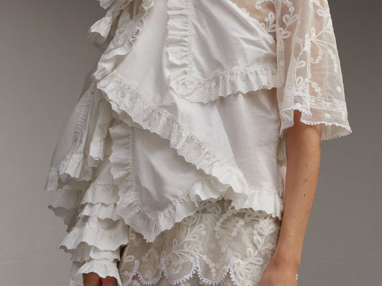 Broderie Anglaise Ruffle Cotton and Lace Dress - Women | Burberry - cell image 4