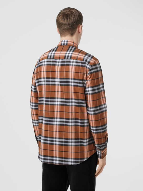Vintage Check Cotton Poplin Shirt in Clementine - Men | Burberry Australia - cell image 2
