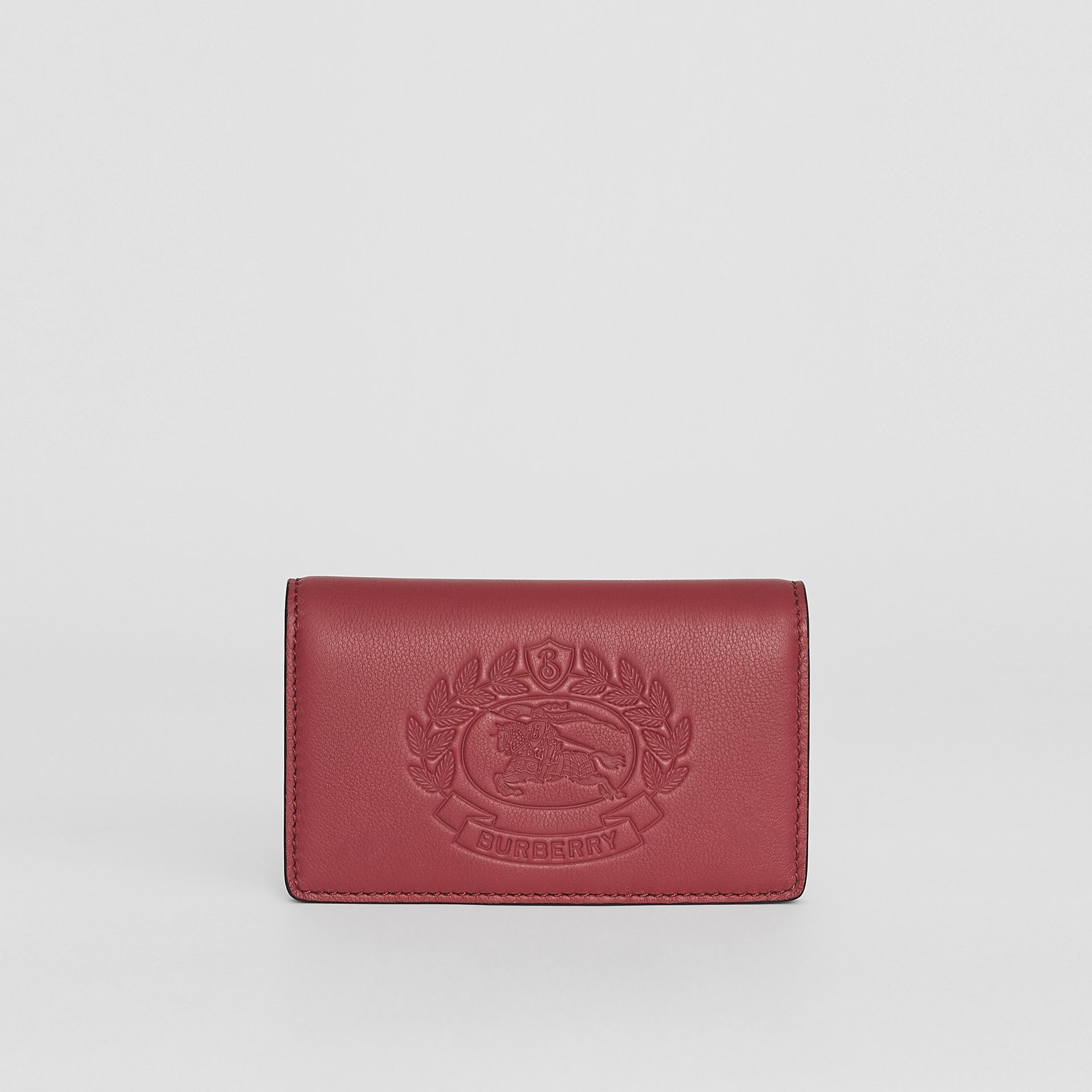 Small Embossed Crest Two-tone Leather Wallet in Crimson - Women | Burberry - gallery image 5