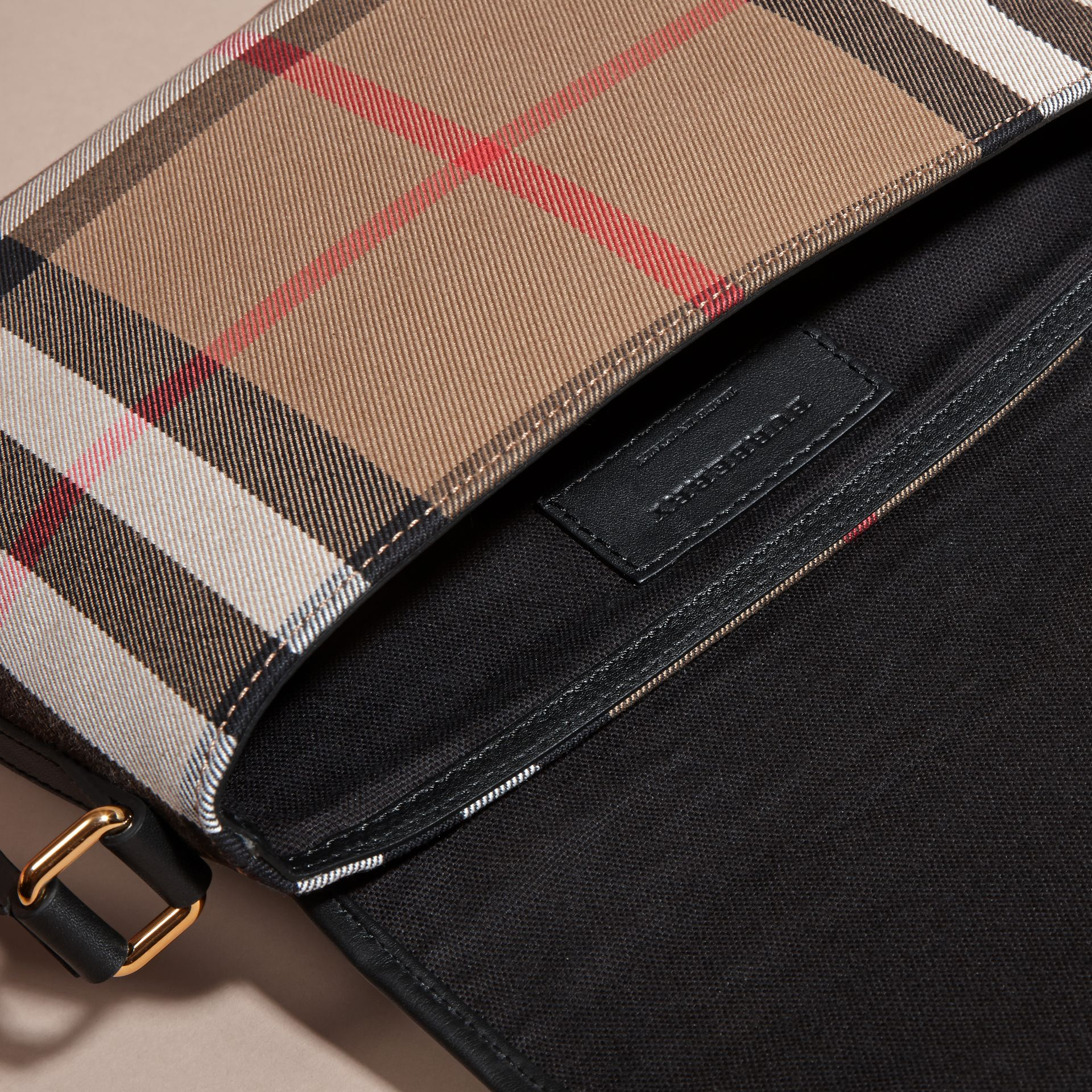 Black English-woven House Check and Leather Satchel - gallery image 5