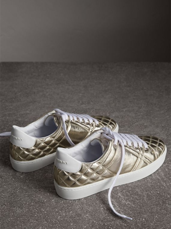 Metallic Check-quilted Leather Trainers in Light Gold - Women | Burberry Australia - cell image 3