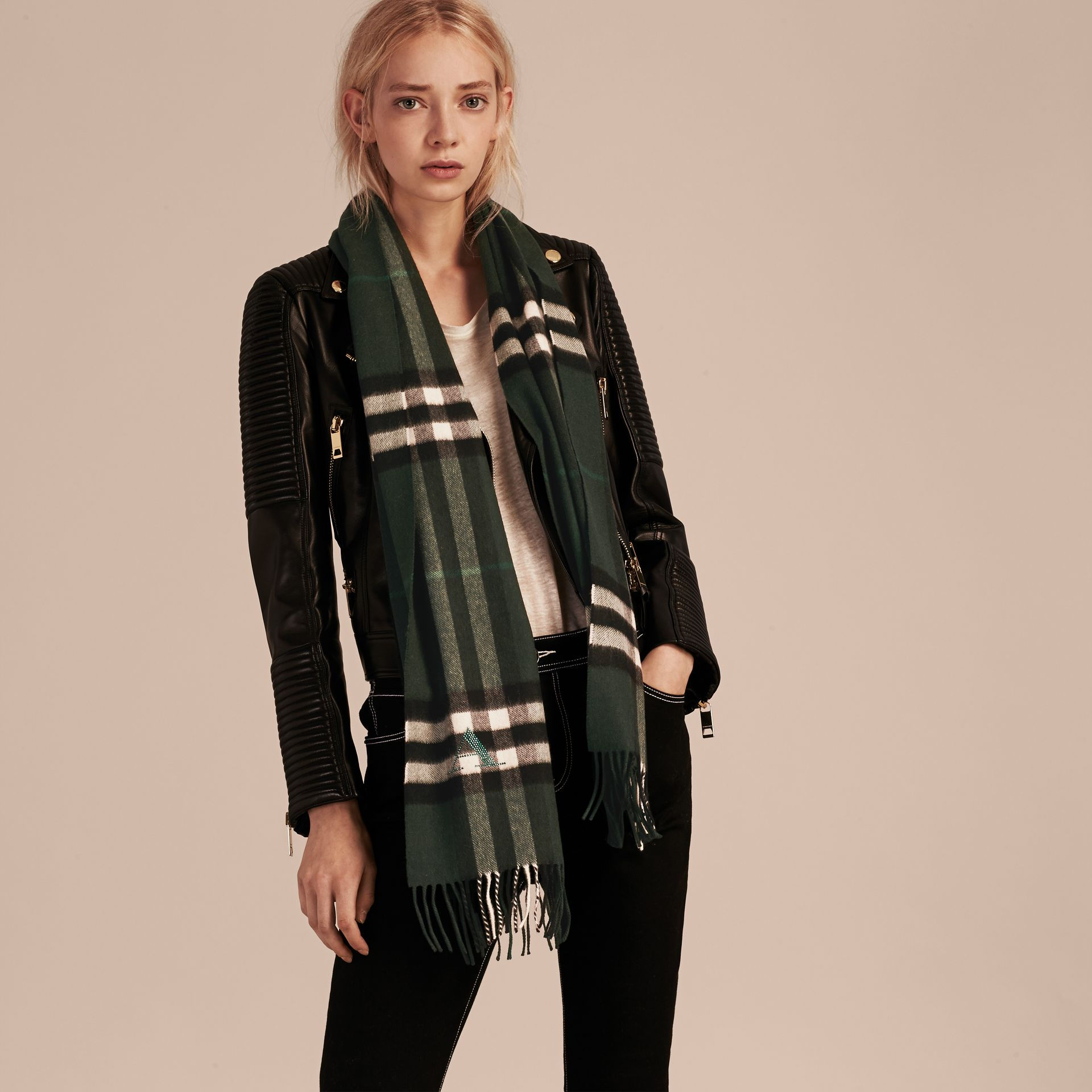 Dark forest green The Classic Cashmere Scarf in Check Dark Forest Green - gallery image 3