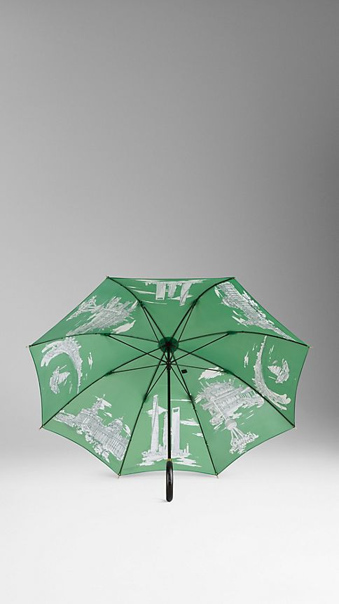 Bright cedar green print Shanghai Landmarks Walking Umbrella - Image 2