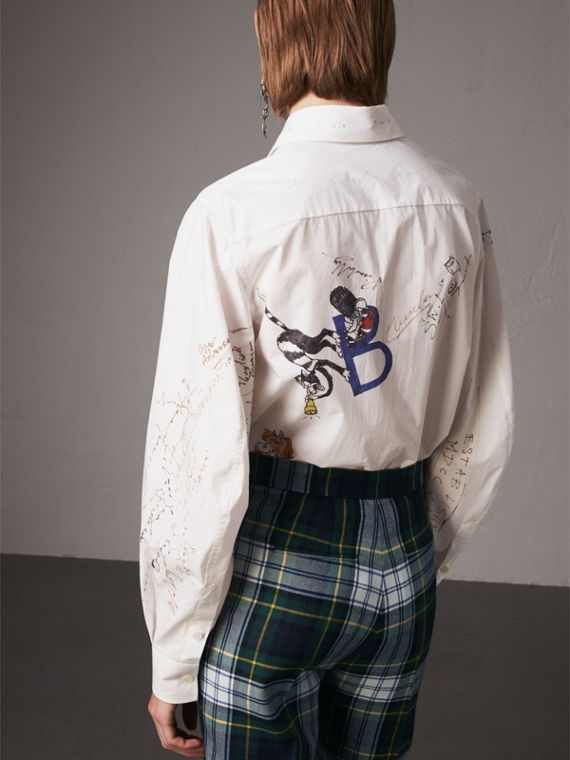 Sketch Print Cotton Shirt in White - Women | Burberry - cell image 2