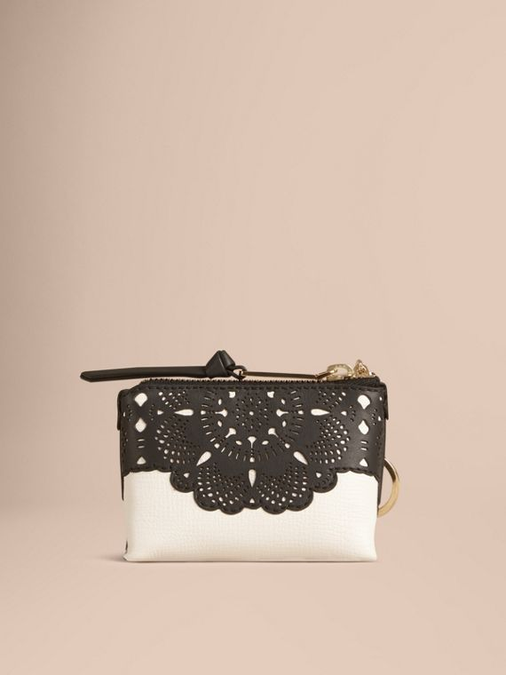 Natural Laser-cut Lace Grainy Leather Coin Case - cell image 3