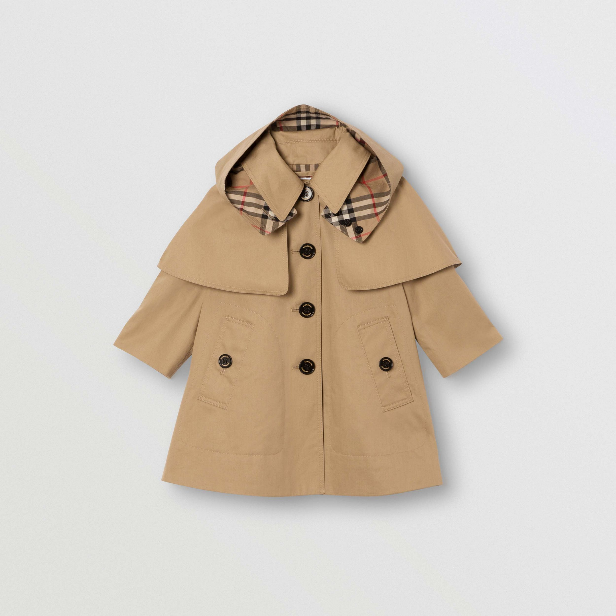 Detachable Hood Water-resistant Cotton Swing Coat in Honey - Children | Burberry - 1