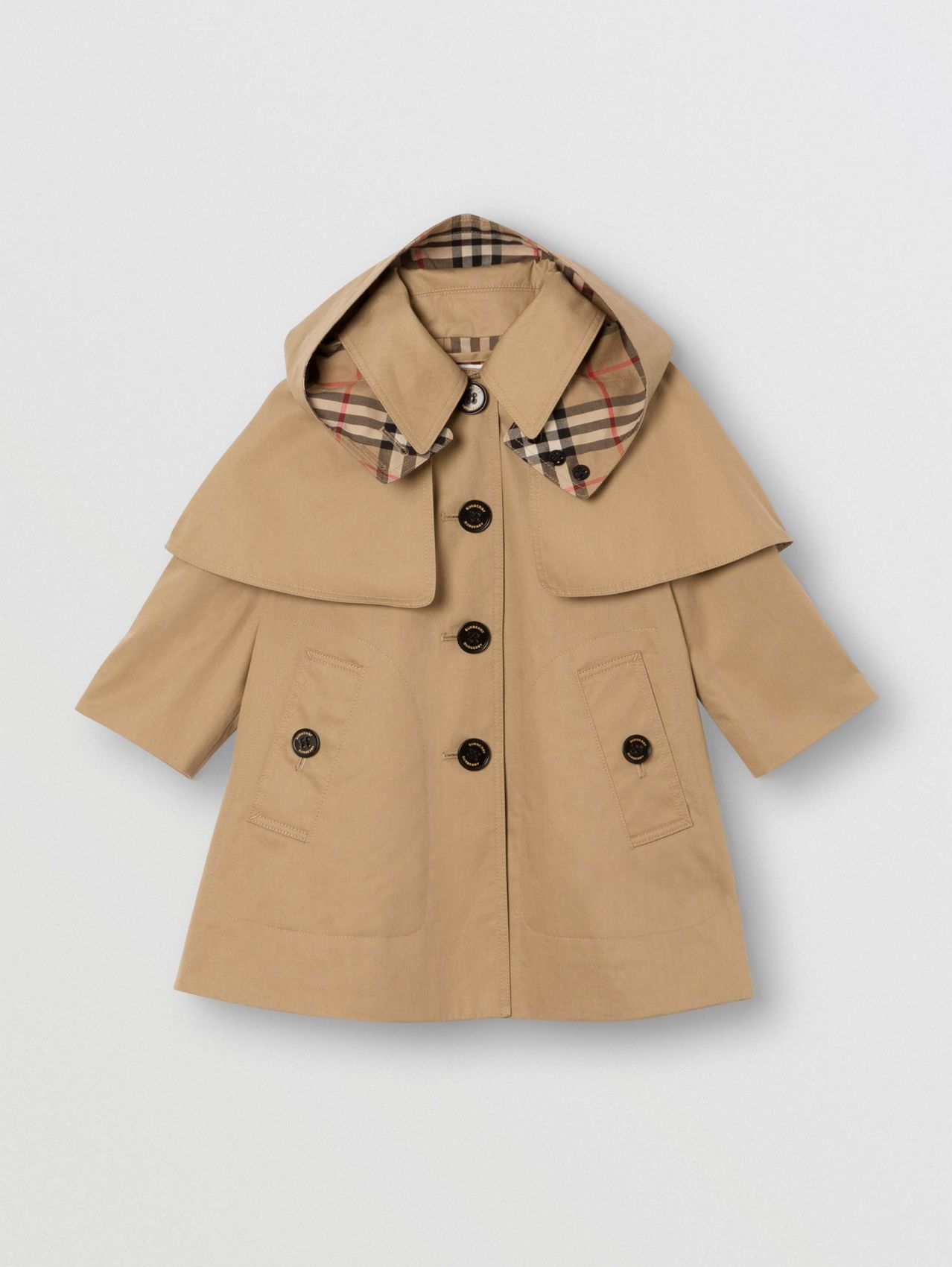 Detachable Hood Water-resistant Cotton Swing Coat in Honey