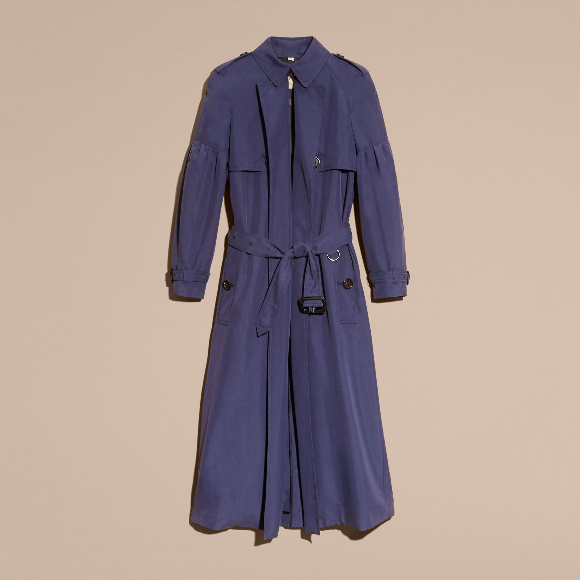 Oversize Silk Trench Coat with Puff Sleeves in Navy - gallery image 4