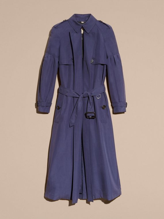 Oversize Silk Trench Coat with Puff Sleeves in Navy - cell image 3