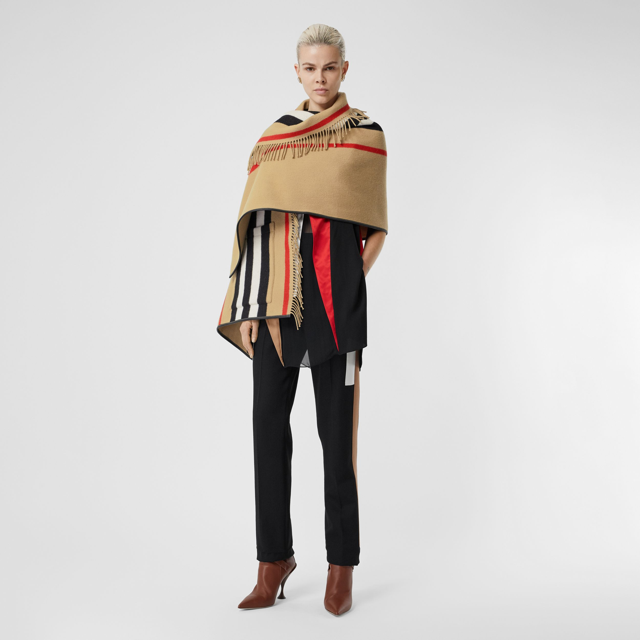 Icon Stripe Wool Cashmere Jacquard Cape in Archive Beige - Women | Burberry Australia - 1