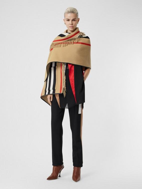 標誌性條紋羊毛喀什米爾提花披肩 (典藏米色)