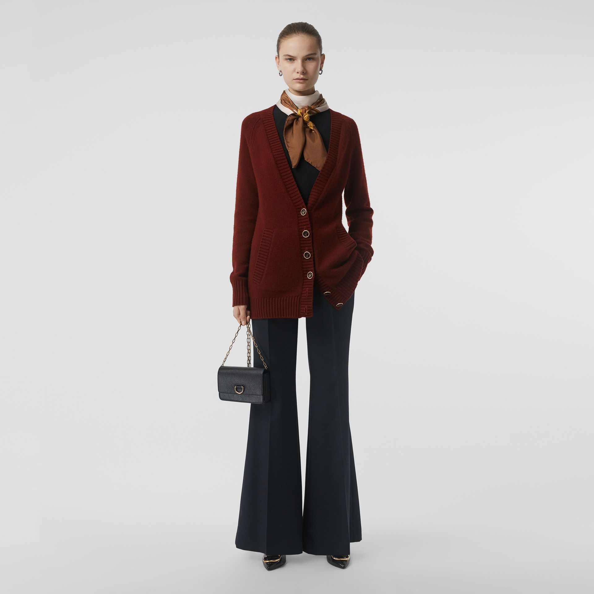 Logo Button Cashmere Cardigan in Dark Russet Brown - Women | Burberry Canada - gallery image 0