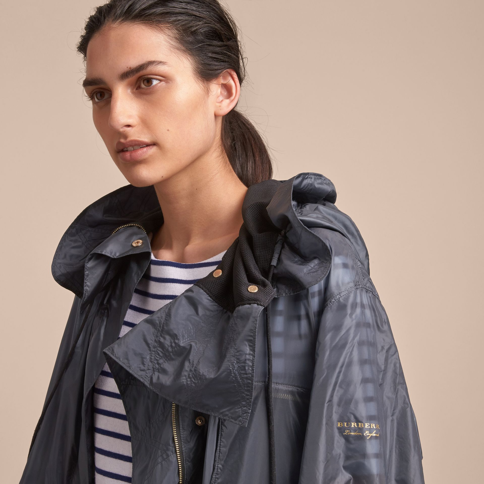 Hooded Lightweight Oversize Parka in Airforce Blue - Women | Burberry - gallery image 5
