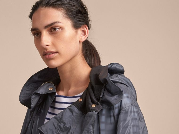Hooded Lightweight Oversize Parka in Airforce Blue - Women | Burberry - cell image 4