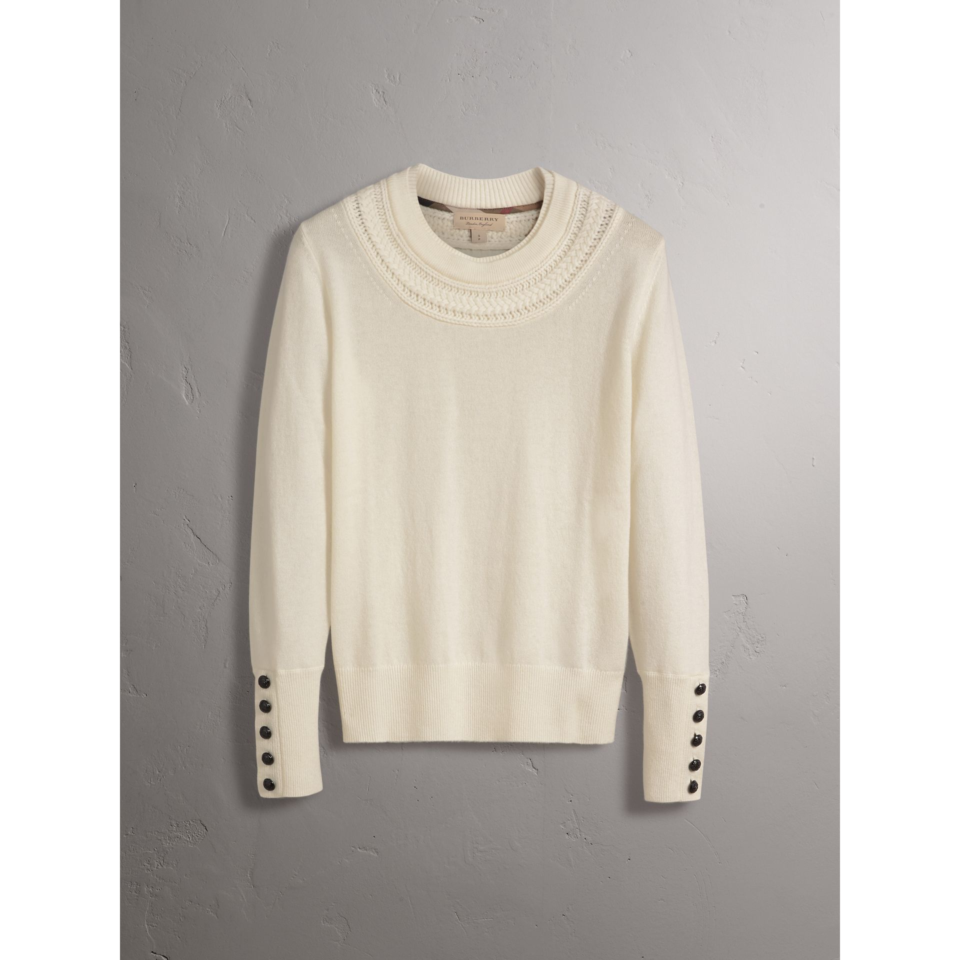 Cable Knit Yoke Cashmere Sweater in Natural White - Women | Burberry - gallery image 4