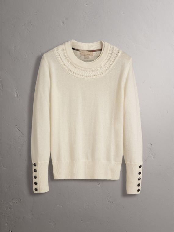 Cable Knit Yoke Cashmere Sweater in Natural White - Women | Burberry Singapore - cell image 3