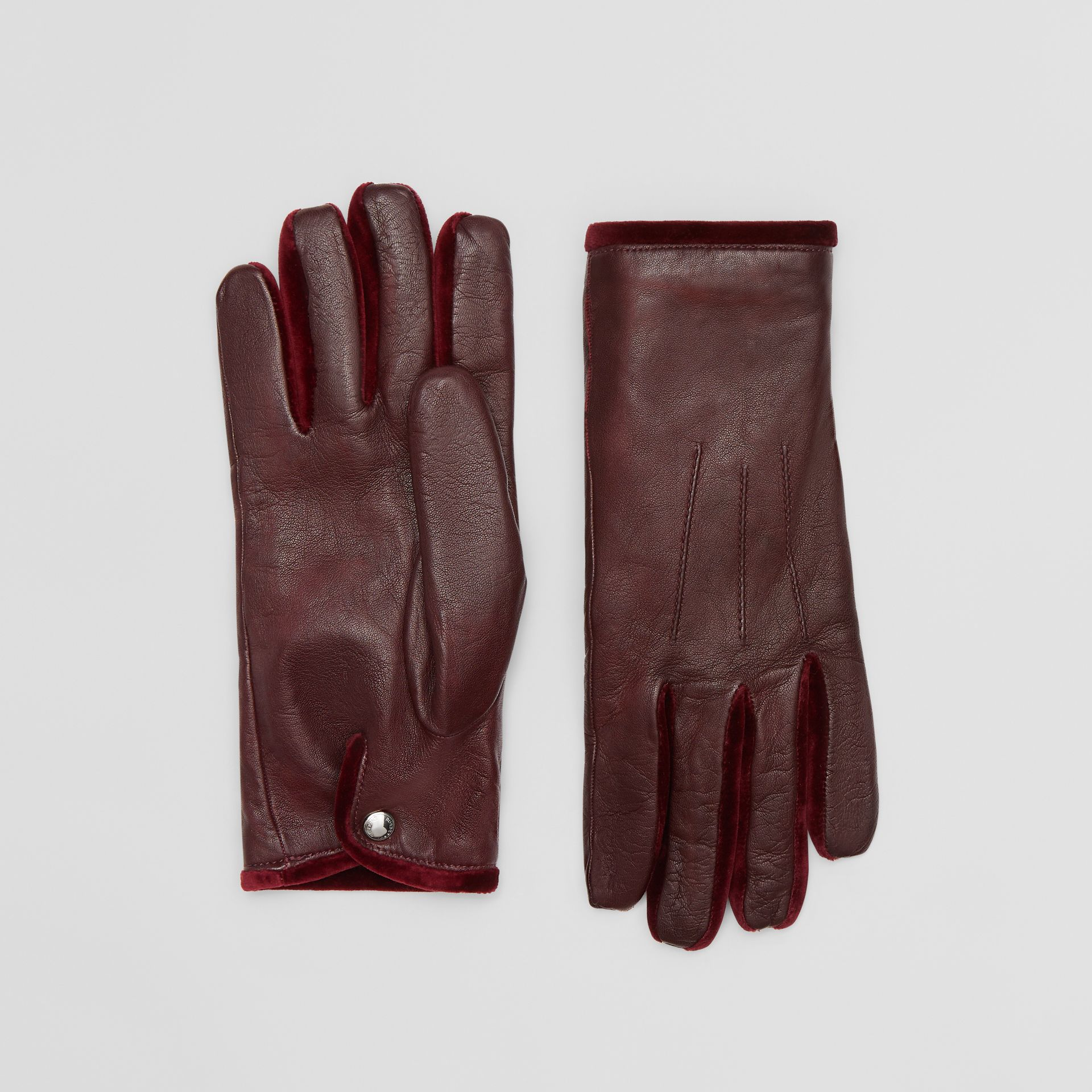 Cashmere-lined Lambskin and Velvet Gloves in Burgundy | Burberry - gallery image 0