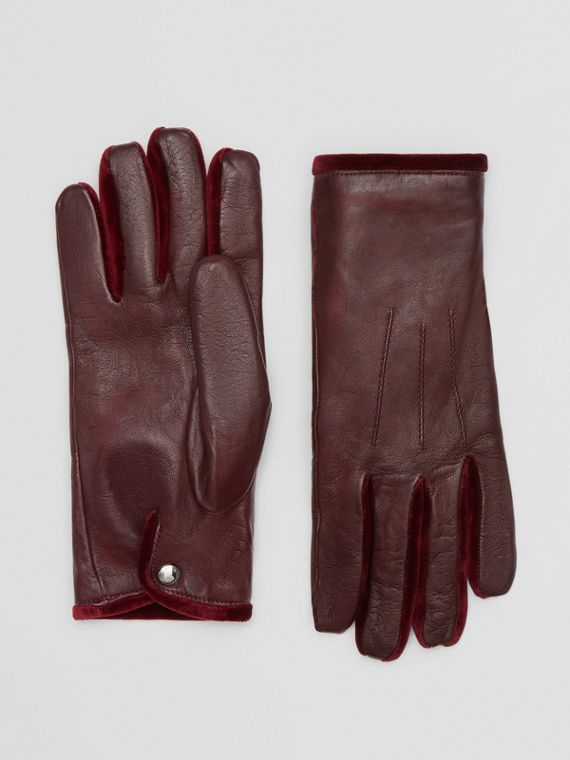 Cashmere-lined Lambskin and Velvet Gloves in Burgundy
