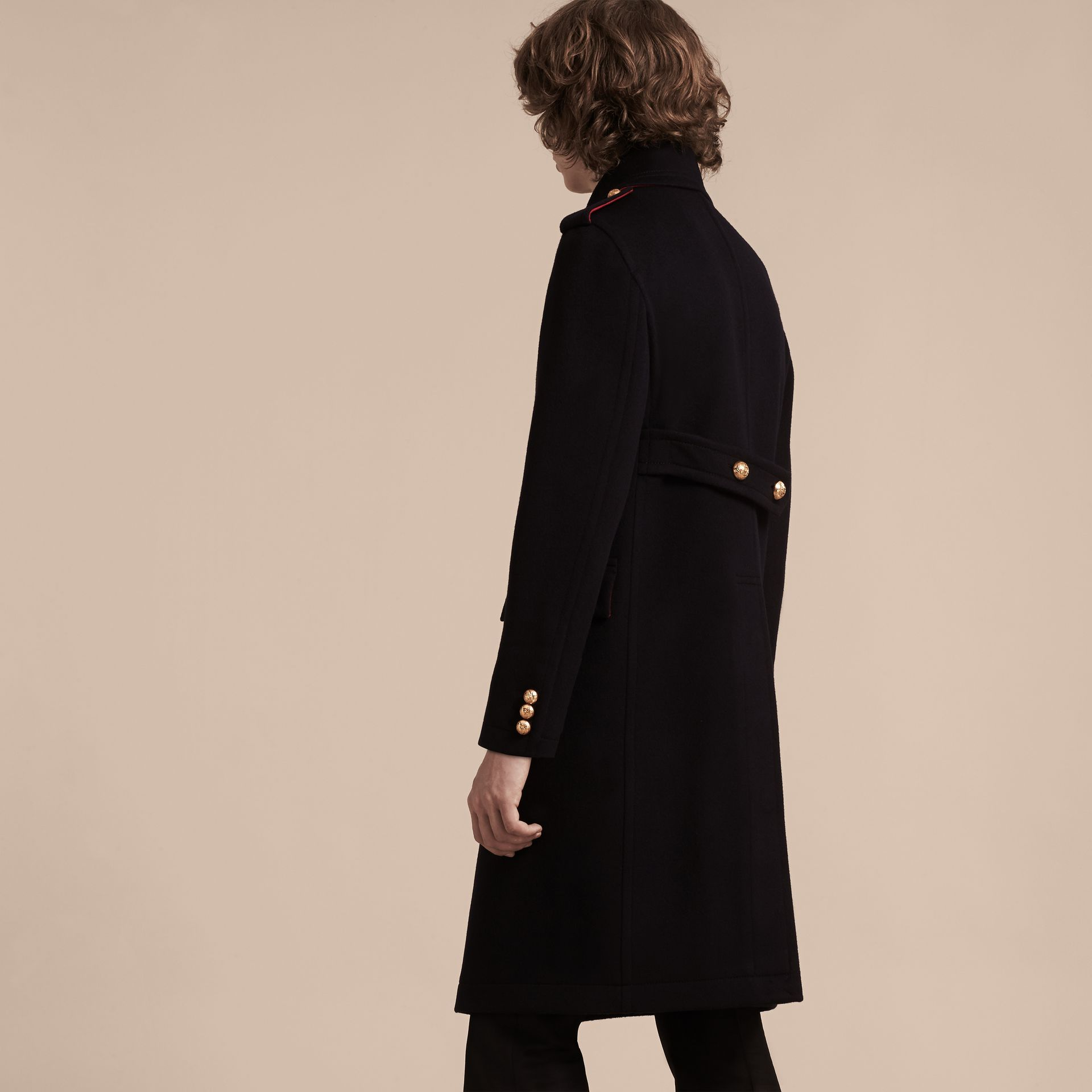 Navy Technical Wool Military Overcoat - gallery image 3