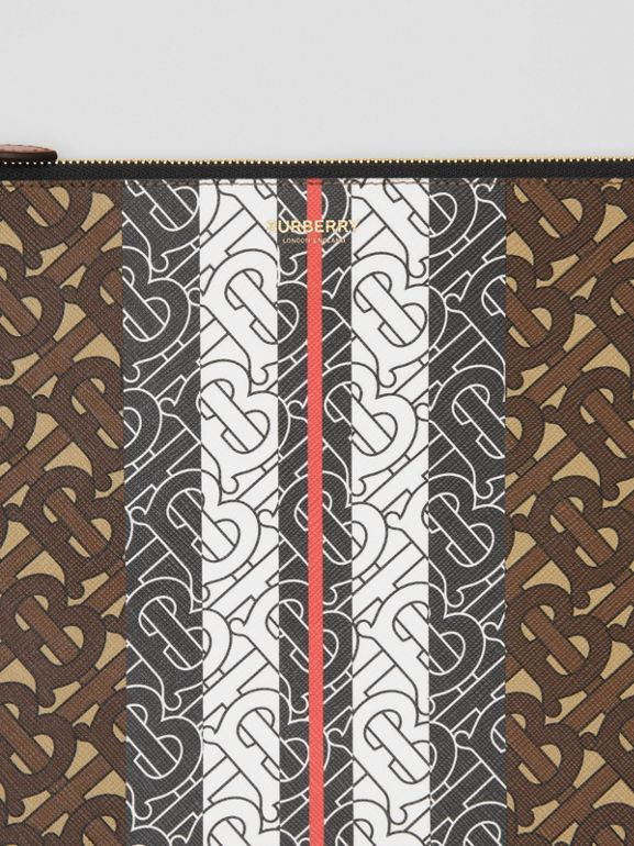 Monogram Stripe E-canvas Pouch in Bridle Brown - Women   Burberry Hong Kong S.A.R - cell image 1