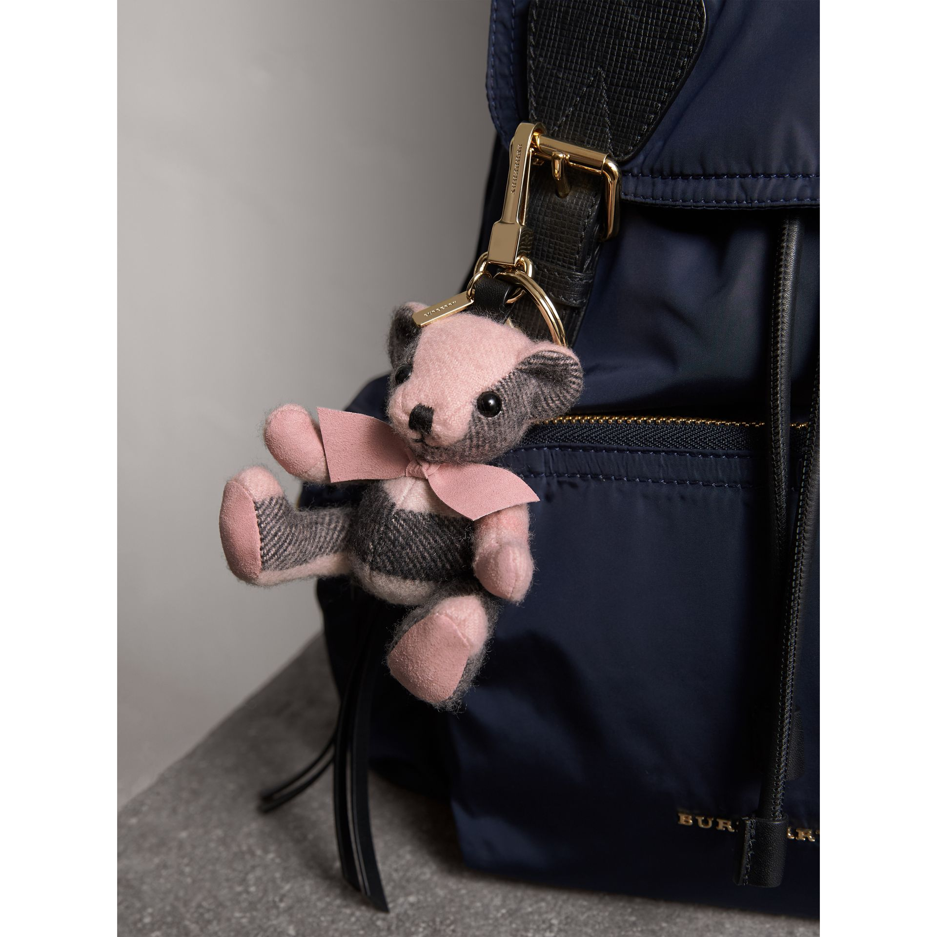 Thomas Bear Charm in Check Cashmere in Ash Rose | Burberry - gallery image 3