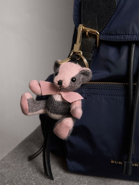 Thomas Bear Charm in Check Cashmere in Ash Rose | Burberry - cell image 2