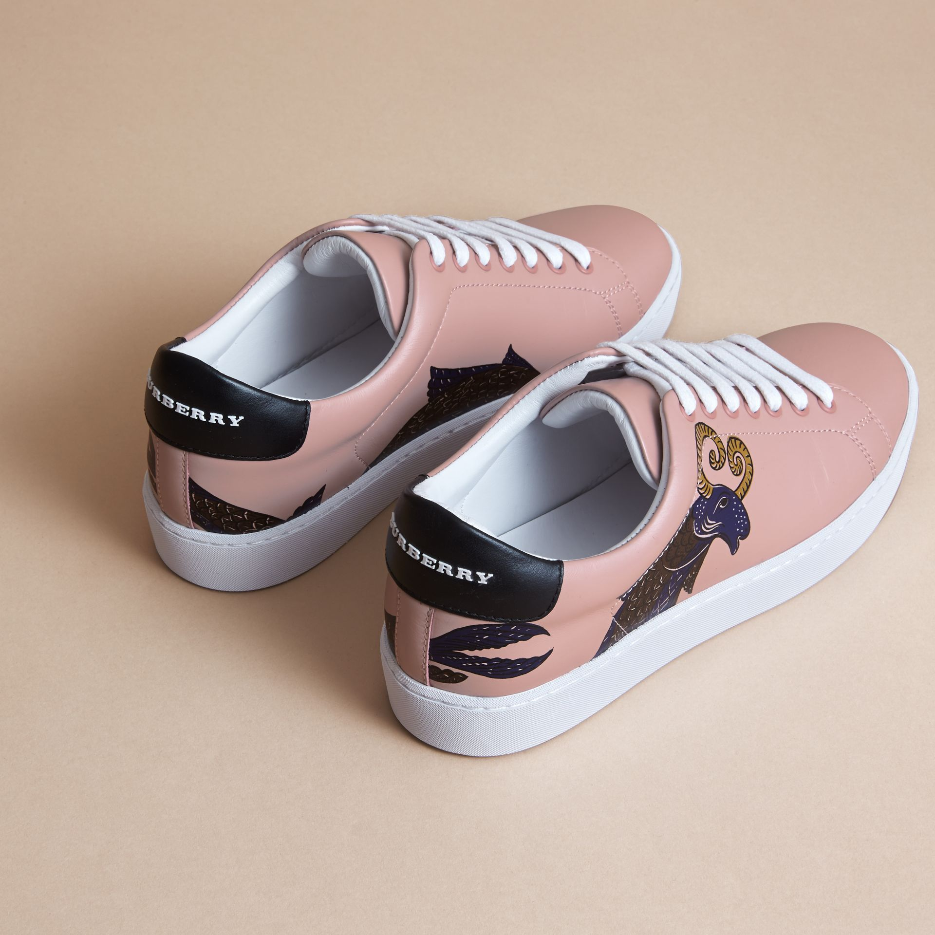 Beasts Print Leather Trainers in Ivory Pink - Women | Burberry - gallery image 3