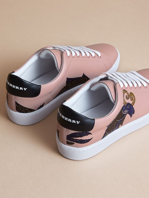 Beasts Print Leather Trainers in Ivory Pink - Women | Burberry Australia - cell image 3