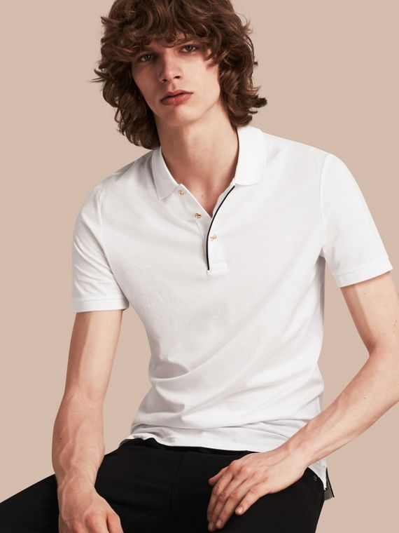 Regimental Cotton Polo Shirt White