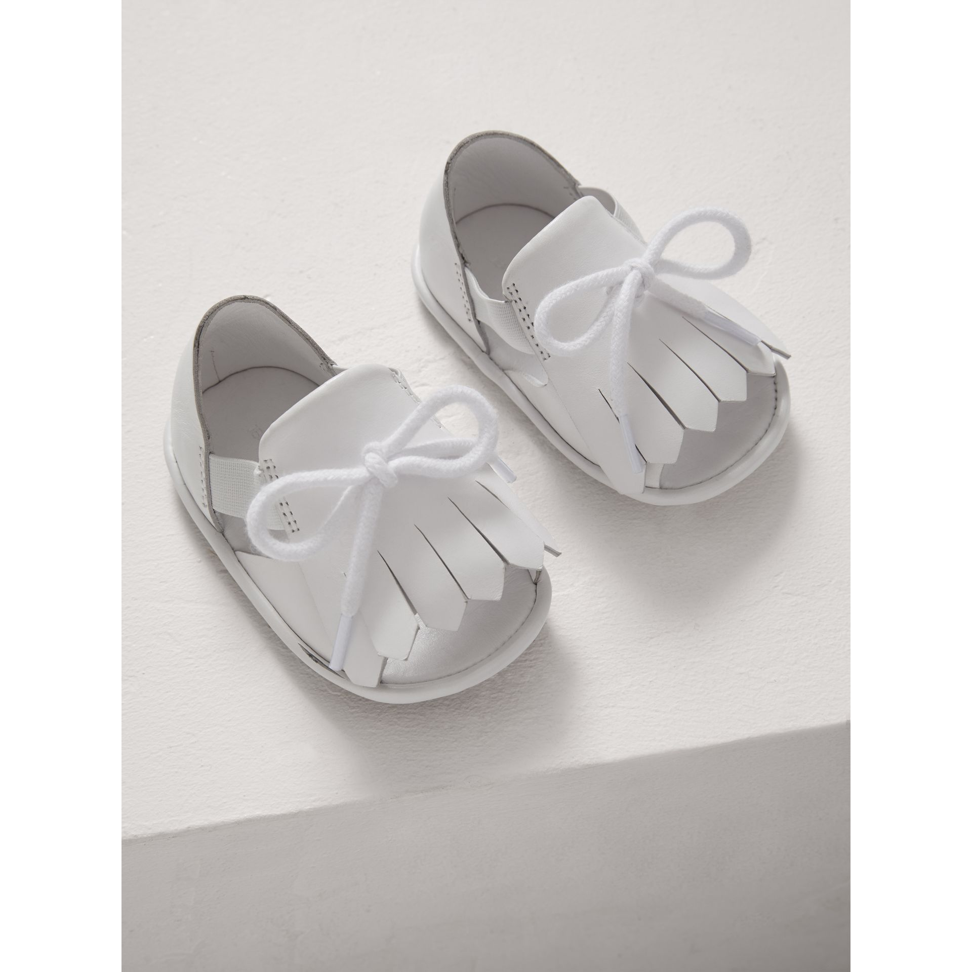 Kiltie Fringe Leather Sandals in Optic White - Children | Burberry - gallery image 3