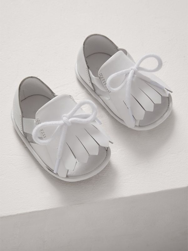 Kiltie Fringe Leather Sandals in Optic White - Children | Burberry - cell image 3
