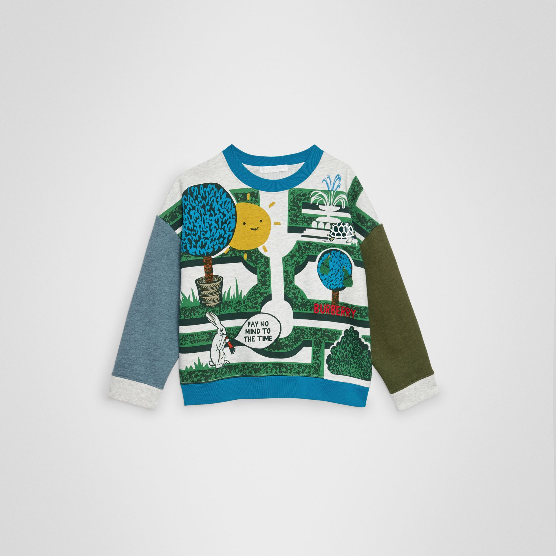 Hedge Maze Print Cotton Sweatshirt in Multicolour | Burberry Australia - gallery image 0
