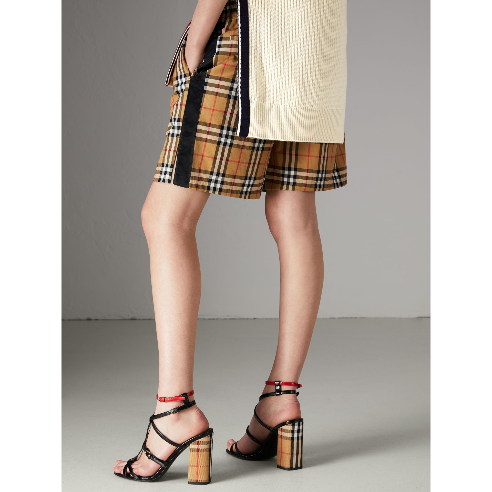 Vintage Check Cotton Drawcord Shorts in Antique Yellow - Women | Burberry - gallery image 2