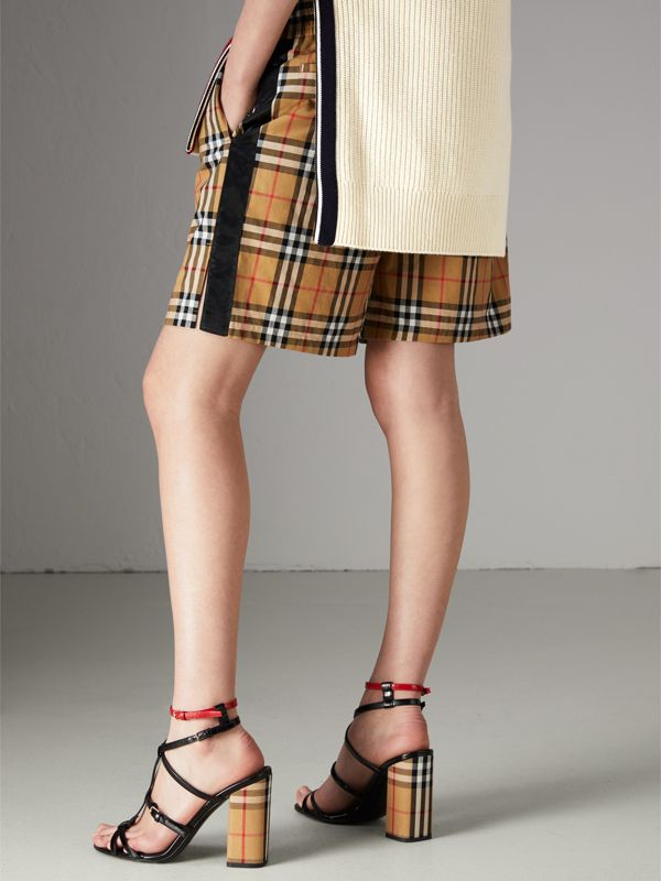 Vintage Check Cotton Drawcord Shorts in Antique Yellow - Women | Burberry - cell image 2
