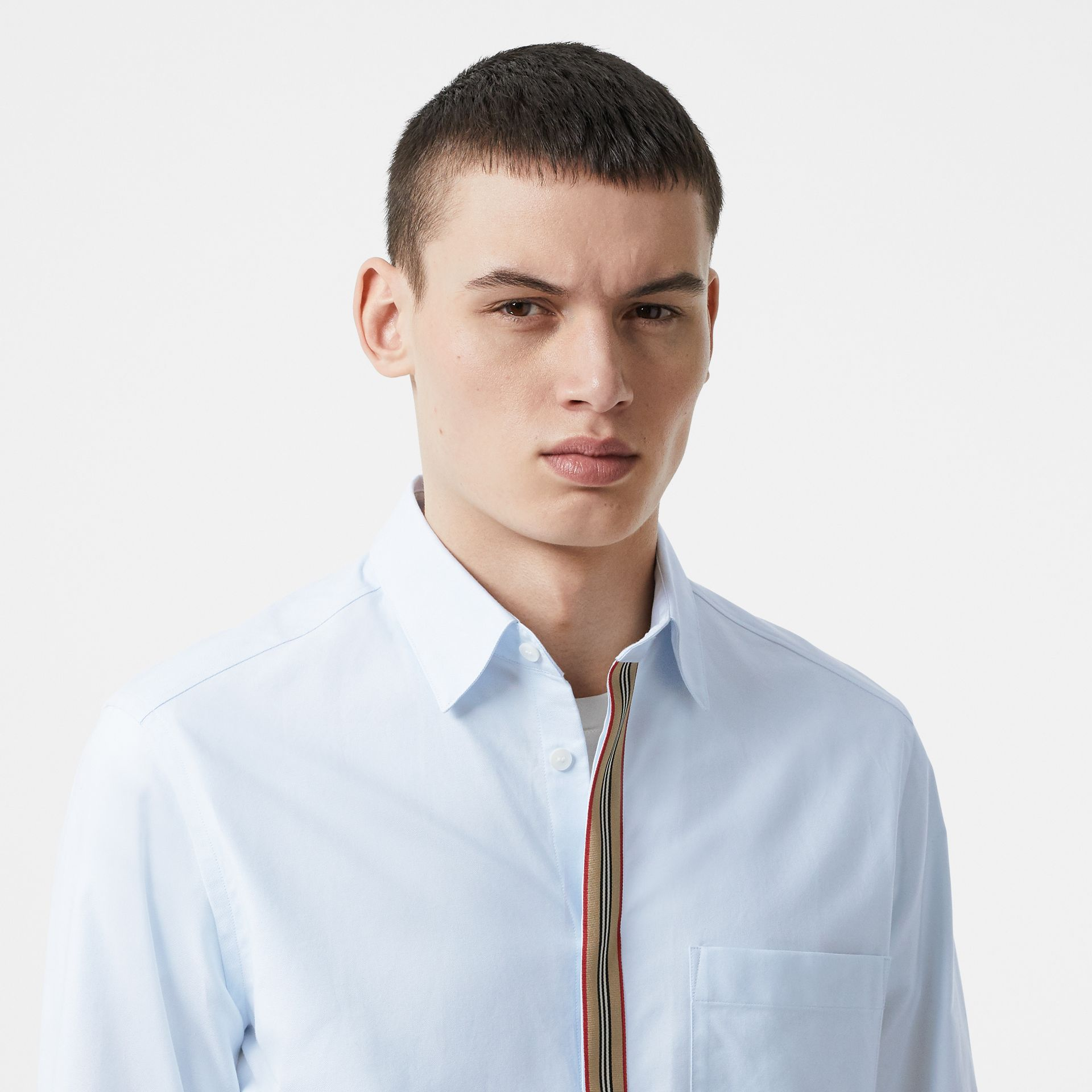 Icon Stripe Detail Stretch Cotton Poplin Shirt in Pale Blue - Men | Burberry - gallery image 1