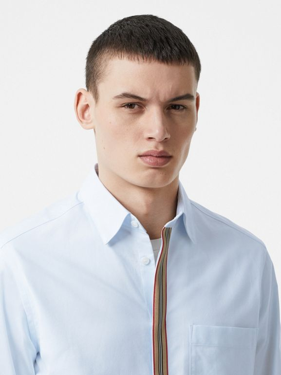 Icon Stripe Detail Stretch Cotton Poplin Shirt in Pale Blue - Men | Burberry United Kingdom - cell image 1