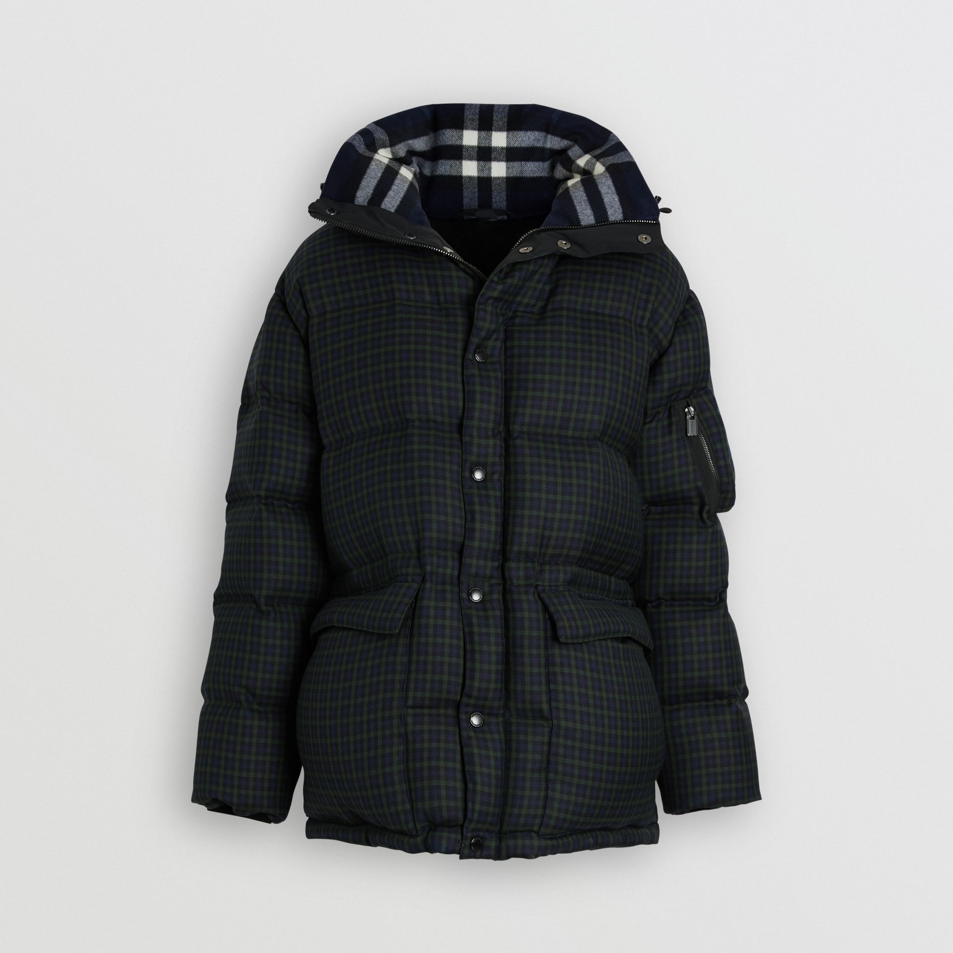 Check Wool Down-filled Hooded Jacket in Navy - Men | Burberry Australia - gallery image 3