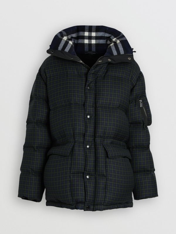 Check Wool Down-filled Hooded Jacket in Navy - Men | Burberry Australia - cell image 3