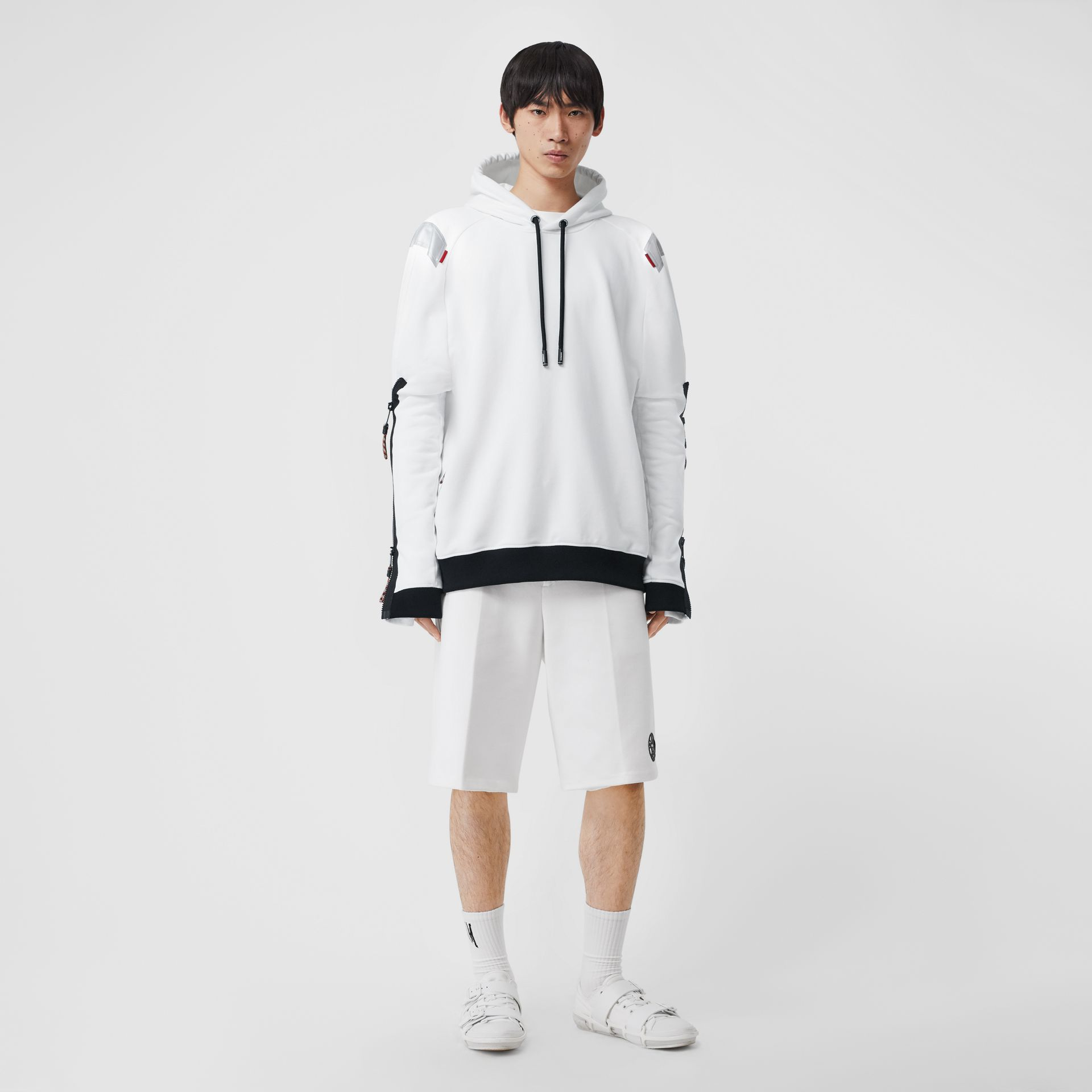 Globe Graphic Cotton Tailored Shorts in Optic White | Burberry - gallery image 0