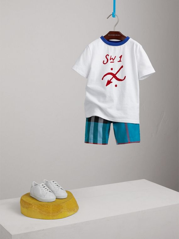 Check Cotton Shorts in Azure Blue - Boy | Burberry - cell image 2