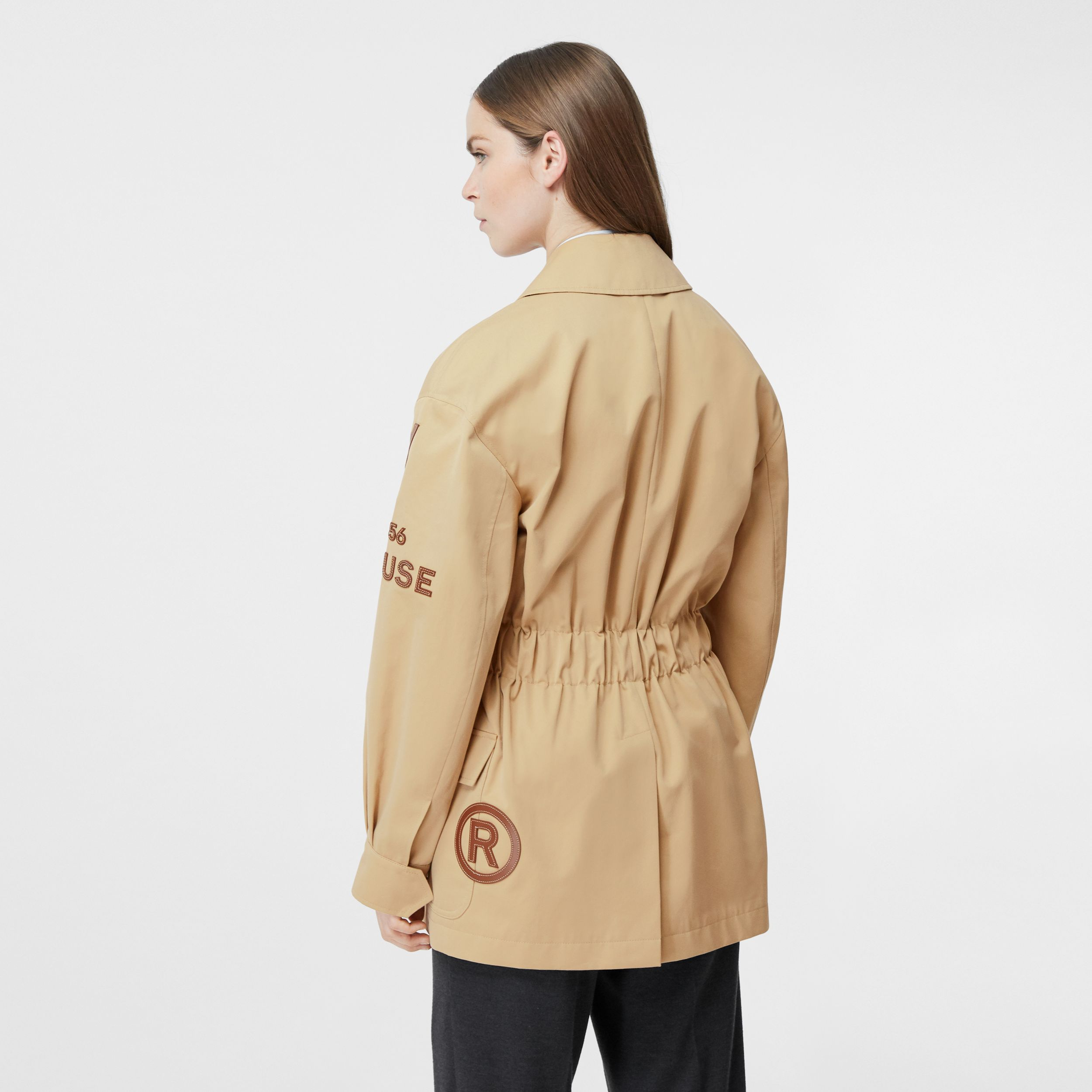 Leather Horseferry Appliqué Cotton Riding Jacket in Honey - Women | Burberry Australia - 3