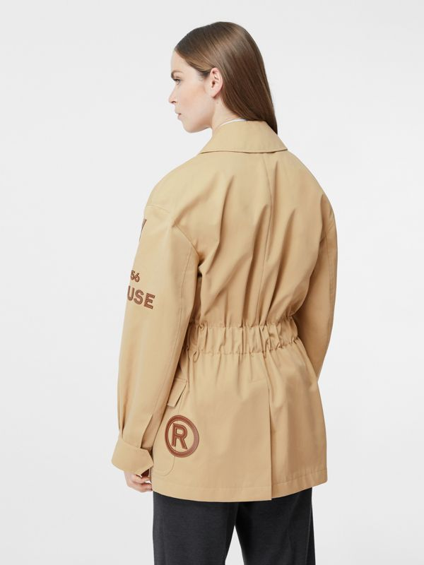 Leather Horseferry Appliqué Cotton Riding Jacket in Honey - Women | Burberry - cell image 2